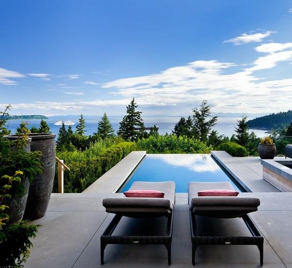 идеи за дизайн тераса шезлонг басейн
