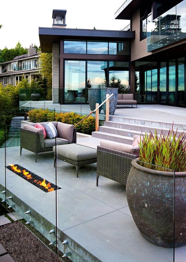 идеи за дизайн тераса мебели ратан камина