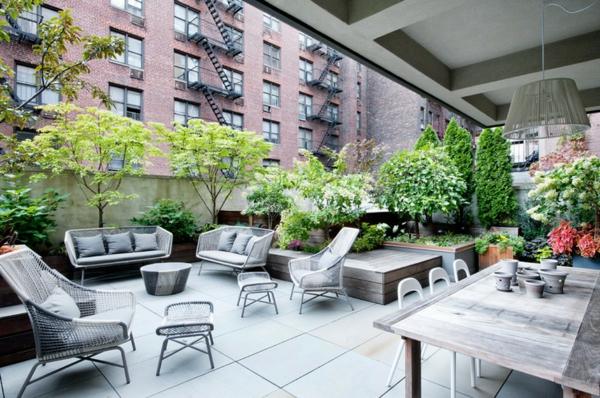 идеи за дизайн тераса мебели сиво интериор