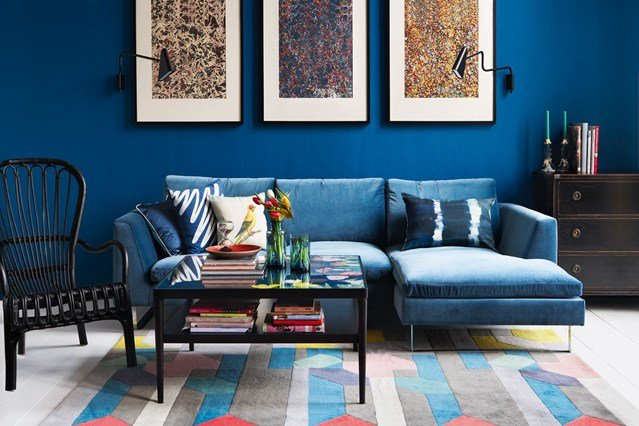 идеи малък хол син интериорен дизайн