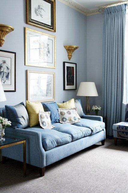 идеи малък хол интериорен дизайн син класически стил