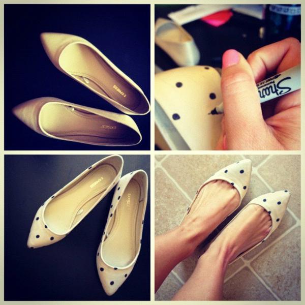 идеи за обувки направи си сам бяло точки