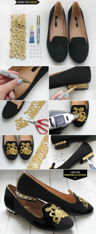 идеи обувки направи си сам златисто декорация