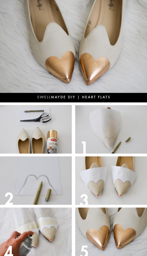 идеи обувки направи си сам златисто
