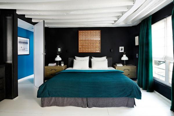 идеи за тавани бяло спалня обзавеждане черно синьо