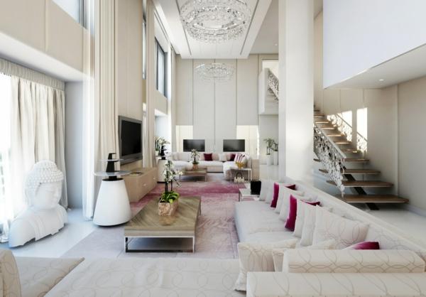 идеи за тавани висок бяло обзавеждане диван