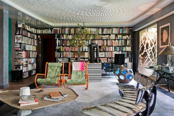 идеи за тавани декорация хол библиотека маса
