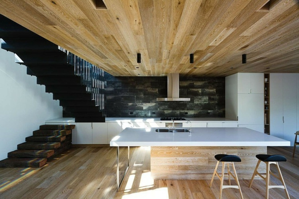 идеи тавани интериор дърво бяла маса