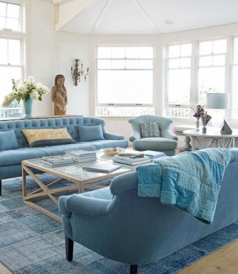 интериорен дизайн в синьо декорация дивани идеи