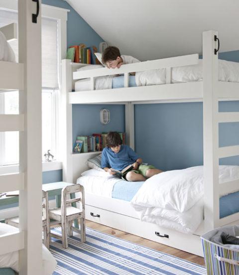 интериорен дизайн в синьо мебели детска стая идеи