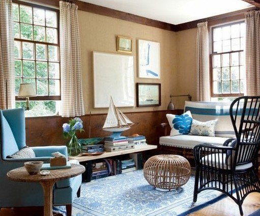 интериорен дизайн в синьо мебели идеи хол