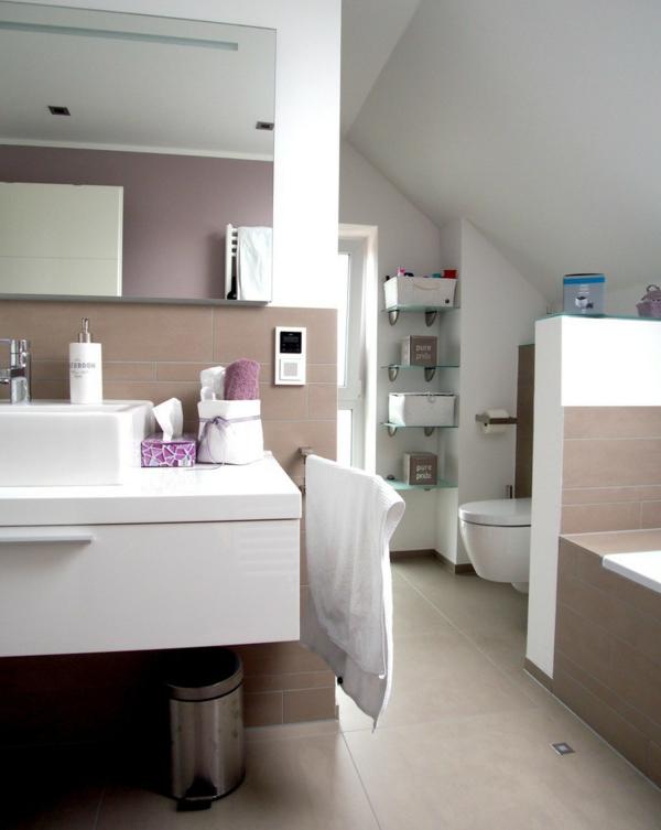 малка баня идеи бяла мивка огледало интериор бежово