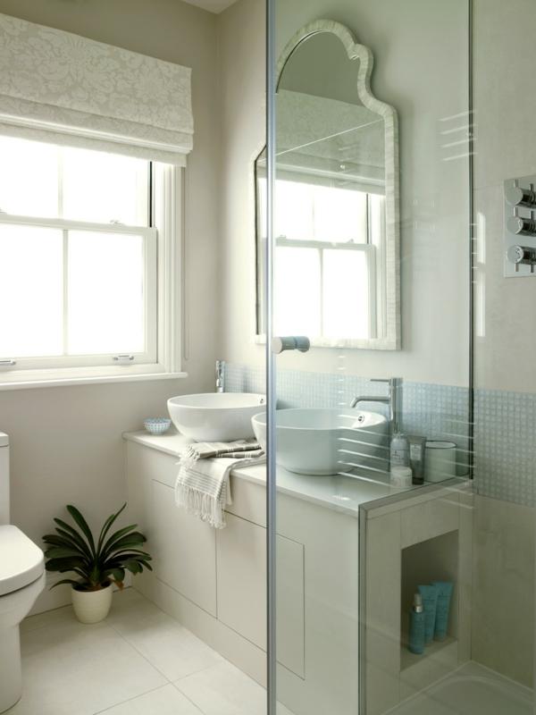 малка баня идеи мивки бяло огледало растение