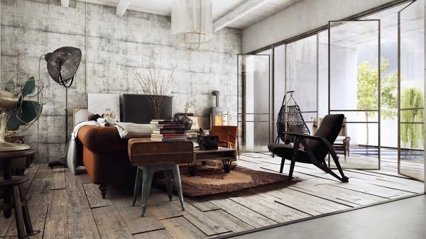 модерен рустик интериорен дизайн хол мебели