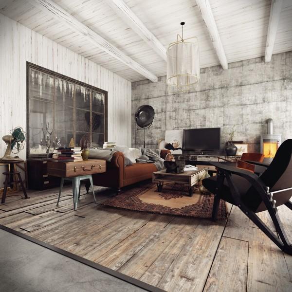 модерен рустик интериорен дизайн хол обзавеждане