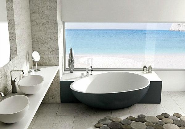 модерни вани баня сиво бяло