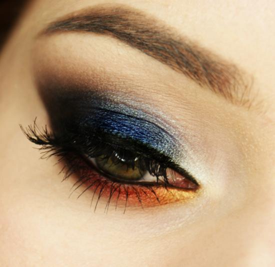 опушен-грим-за-очи-синьо-оранжево