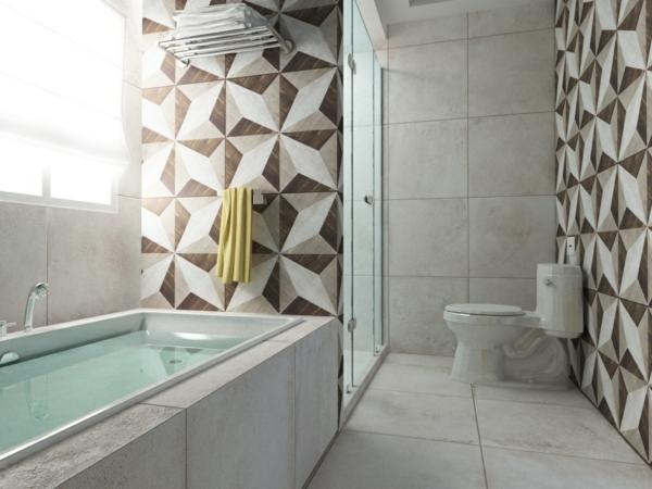 плочки за баня в бяло кафяво фигури вана интериор