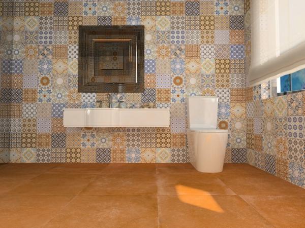 плочки за баня в оранжево бежово мивка бяло