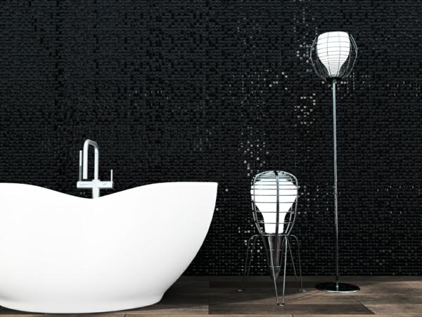 плочки за баня в черно мозайка бяла вана