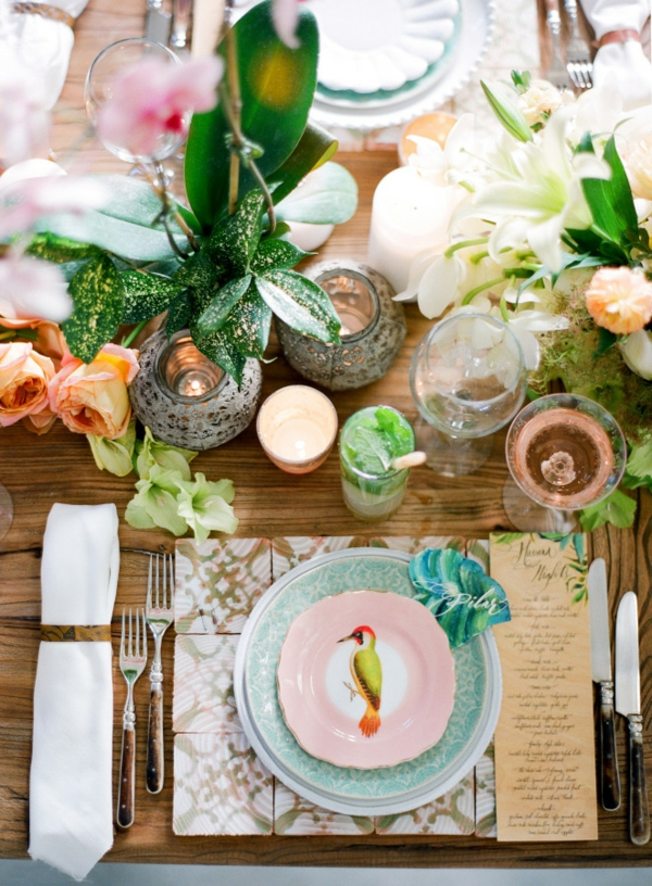 сватба в жълто и зелено маса декорация