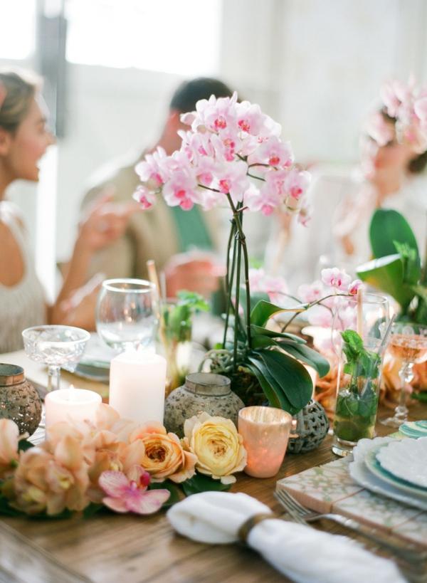 сватба в жълто зелено декорация маса