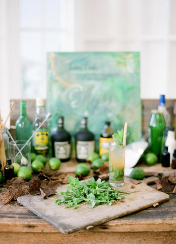 сватба в жълто зелено напитки