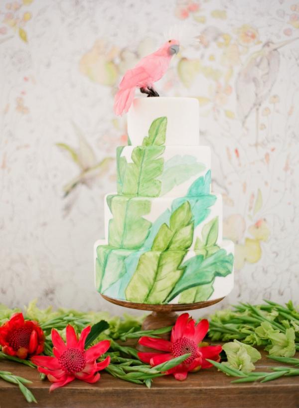 сватба в жълто зелено торта
