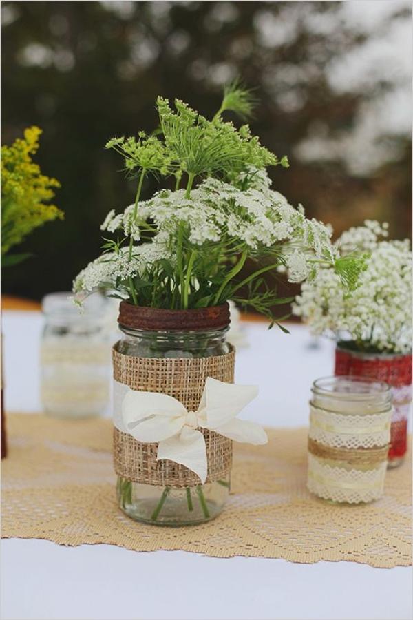 сватбена украса маса цветя