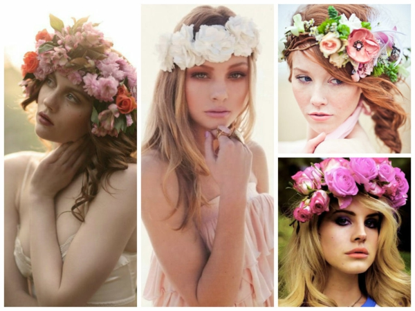 сватбени прическа свежи цветя