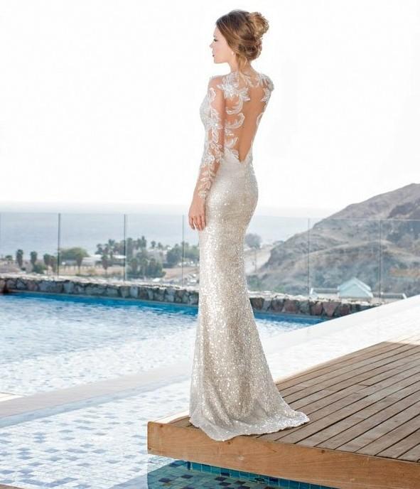 сватбени рокли  с дълъг ръкав дантела