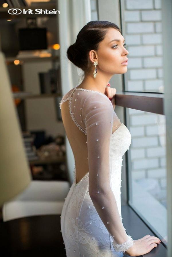 сватбени рокли  дълъг ръкав перли