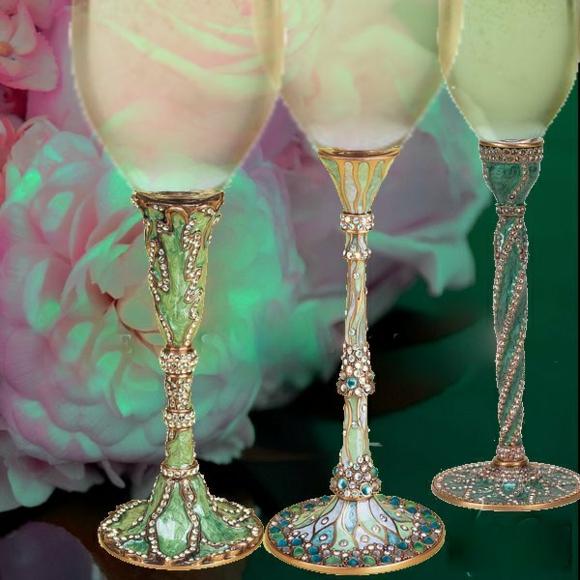 сватбени чаши луксозни декорация камъни