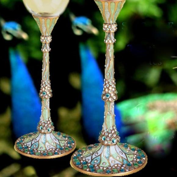 сватбени чаши луксозни камъни декорация