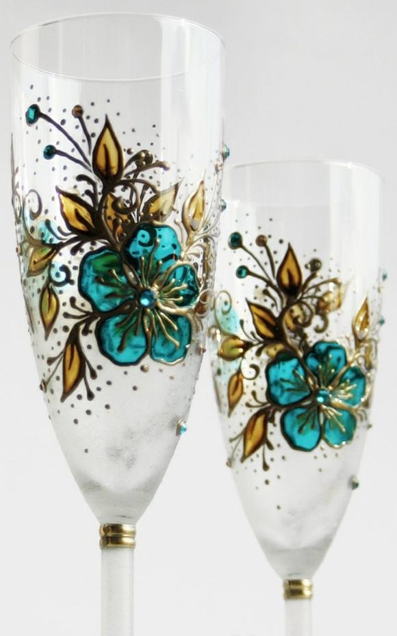 сватбени-чаши-цветя-стъклопис