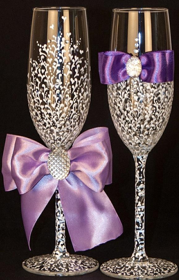 сватбени-чаши-панделки-лилаво