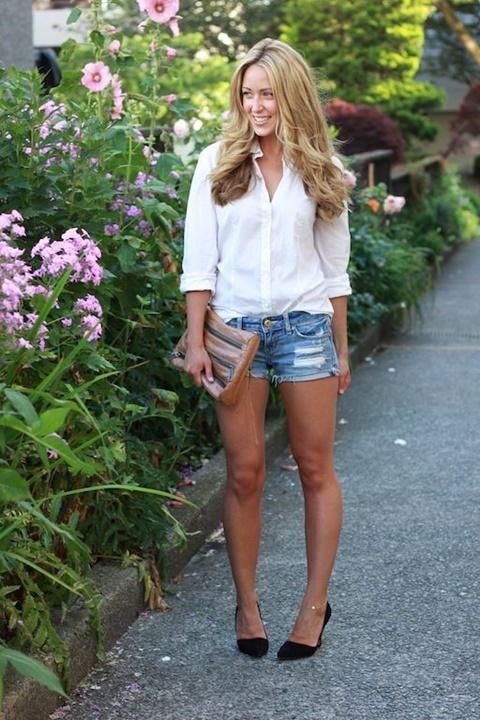 стрийт-стайл-къси-панталонки-бяла-риза-лято