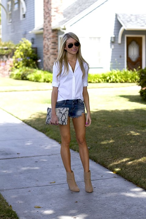 стрийт-стайл-къси-панталони-бяла-риза-тенденции