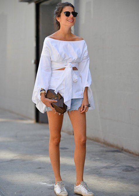 стрийт стайл къси панталонки бяла риза