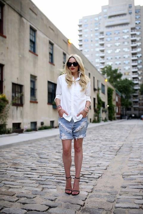стрийт-стайл-къси-панталонки-бяла-риза