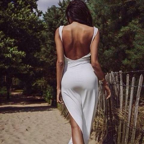 стрийт стайл рокли гол гръб бяла