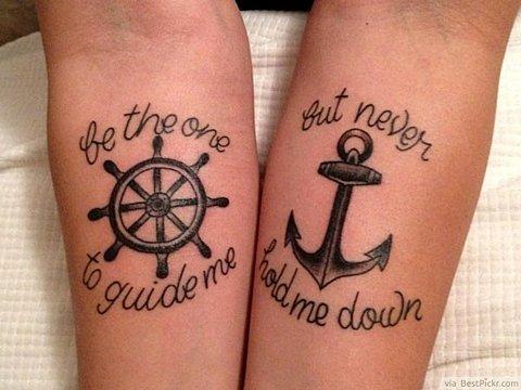 татуировки-за-двойки-морски-котва