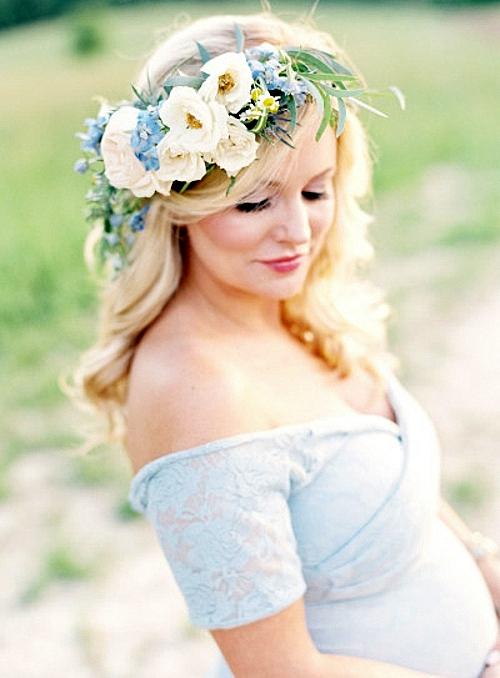 фотосесия на бременни фотография жена венец цветя