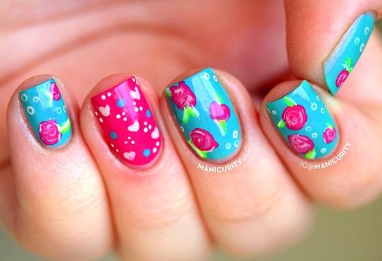 маникюр къси нокти цветя