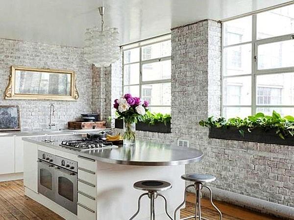 тухлена стена кухня бяла