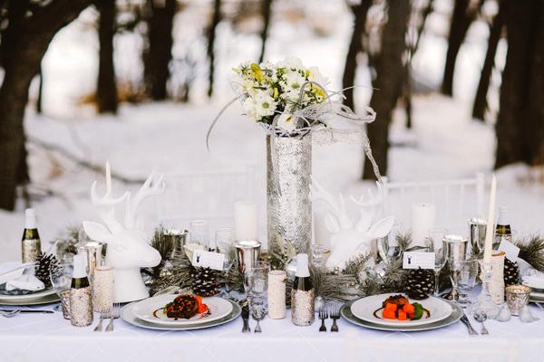 зимна сватбена украса