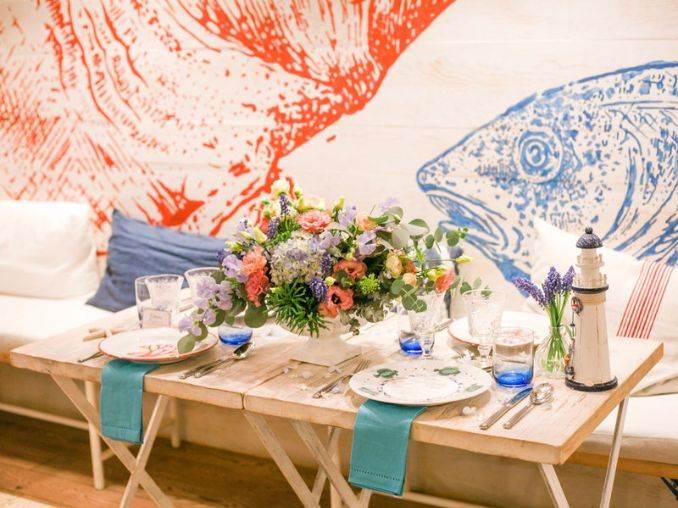 Украса за маса за лятно парти в морски стил