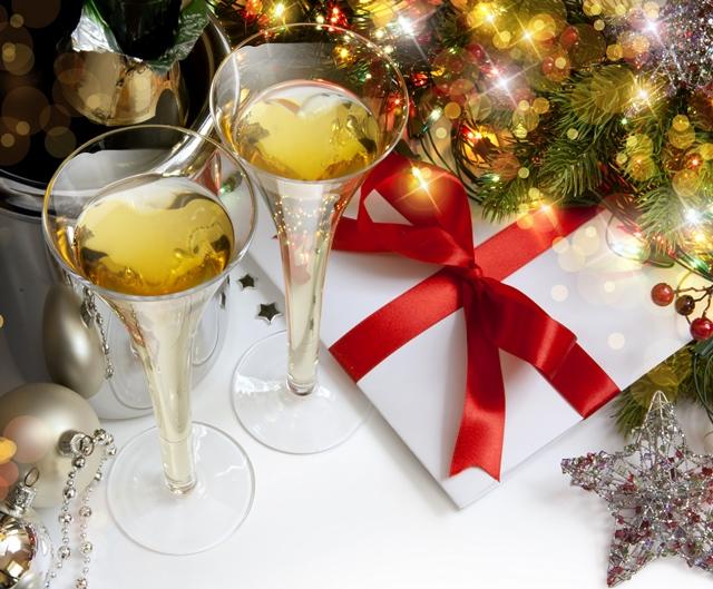 koledni snimki s shampansko