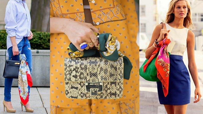 дамски шал върху чантата
