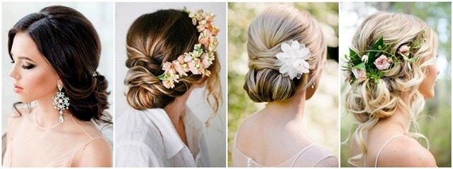 Niska punđa frizura za venčanje